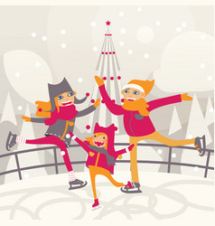 happy family skating on ice rink flat people with vector image