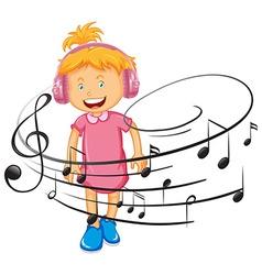 Happy girl listen to music headphone vector