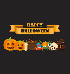 happy halloween composition on vector image
