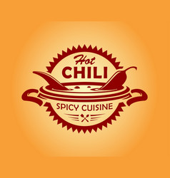 Hot chili spicy cusine icon vector