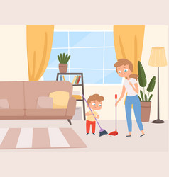 Housework children help kids washing living room vector