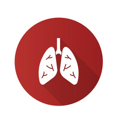 human lungs flat design long shadow glyph icon vector image