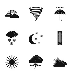Kinds of weather icons set simple style vector image