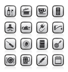 kitchen objects and accessories icons vector image vector image