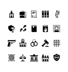 Law and justice icons legislation and court vector