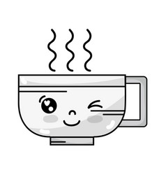 Line kawaii cute funny coffee cup vector