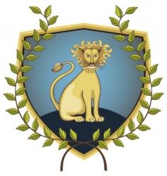 lion in laurel wreath vector image