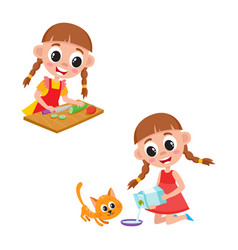 little girl cooking salad and giving milk to cat vector image