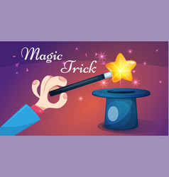 magic wand trick - cartoon vector image