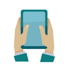 man holding digital tablet in hands isolated vector image