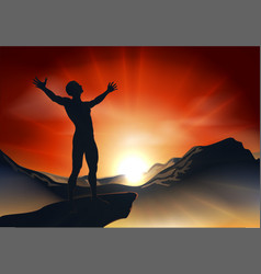 man on mountaintop with arms out vector image