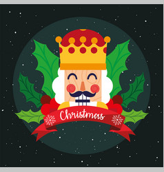 Merry christmas nutcracker with leaves vector