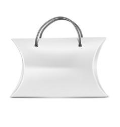 Mock up white pillow box for gift vs handle vector