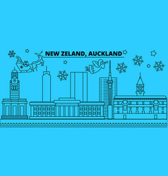 new zealand auckland winter holidays skyline vector image