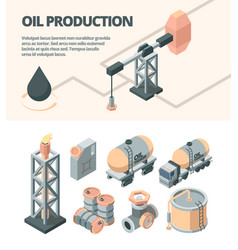 oil industrial isometric set derrick fire truck vector image