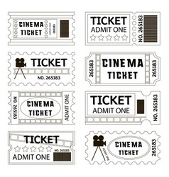 old cinema tickets for cinema vector image