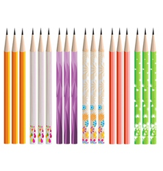 Pencils painted in different colors on white vector image