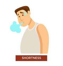 Person experiencing shortness breath symptom vector