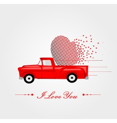 Pickup Truck with Lovely Heart vector image