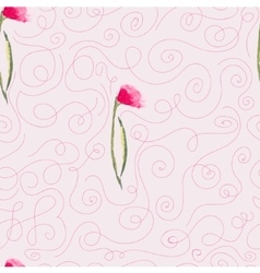 pink watercolor flowers seamless pattern vector image