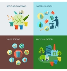 Recycling And Waste Reduction Icons Set vector