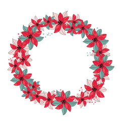 Red wreath merry christmas color vector