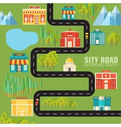 Road to the city on flat style background concept vector