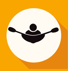 rowing icon on white circle with a long shadow vector image