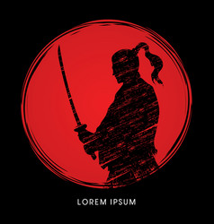 samurai warrior with sword vector image