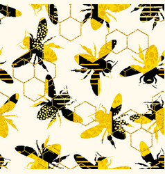 seamless geometric pattern with bee vector image