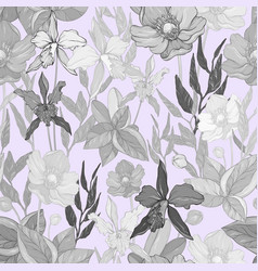 seamless pattern with flowers and exotic plants vector image