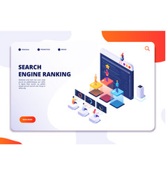 search engine rank isometric landing page seo vector image