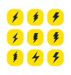 set bolts lightning minimalistic vector image
