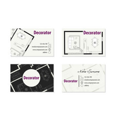 Set business cards for decorator vector