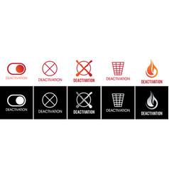 Set logos sign deactivation vector