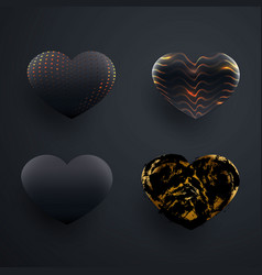 set of beautiful textured black 3d glossy heart vector image