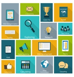 Set of modern icons in flat design vector image