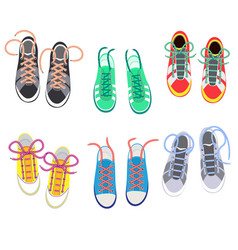 Shoelaces on snickers shoestring or shoe vector