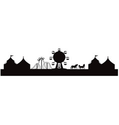 silhouette of amusement park with tents circus vector image