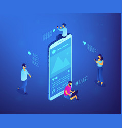Social media messages isometric 3d concept vector