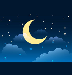 Starry night sky cartoon background vector