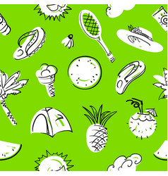 Summer seamless pattern doodle background with vector