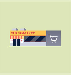 supermarket building with basket symbol vector image