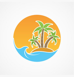travel icon beach with palm trees and summer sun vector image