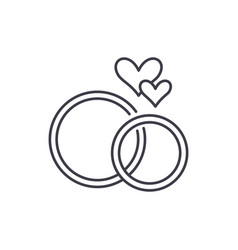 wedding rings line icon concept wedding rings vector image