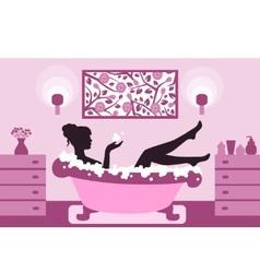 Woman relaxing in bath foam vector