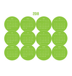 year 2018 calendar with months in green circle vector image