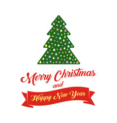 christmas tree and text merry christmas and happy vector image vector image