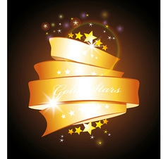 stars and gold ribbon vector image