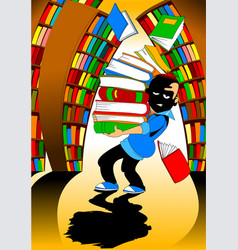 student in the library vector image vector image
